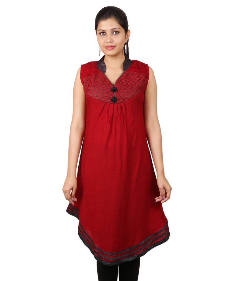 Organic Red Color  Cotton Kurti
