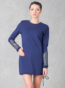 Dress with Armlets Navy Blue