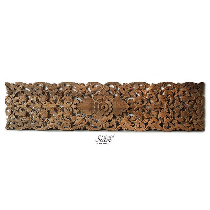 Tropical Floral Carved Wood Bed Headboard
