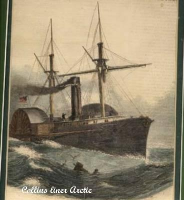 Collins liner Arctic sinking after a collision with the French steamer Vesta in September, 1854.  Many lives were lost in the tragedy.