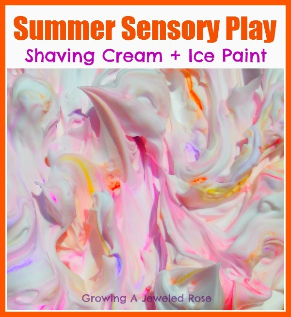 Beat the heat with some Summer Sensory Play! Shaving Cream & Ice Paint was such a colorful and FUN way to cool off and explore our senses.