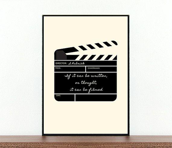 Stanley Kubrick, Poster di Film, ciak, citare il famoso regista, Film, film citazioni, riprese, tipografia, citazione ispiratrice, Cinema