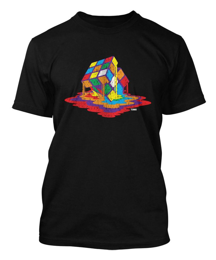 Melting Rubiks Cube - Rainbow Geek Nerd Math Science Puzzle Men's T-Shirt