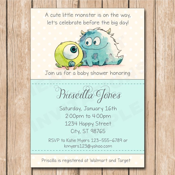 Ask for the Cute Baby Monsters Inc. Invitation at https://www.etsy.com/shop/HeartfeltInvitations