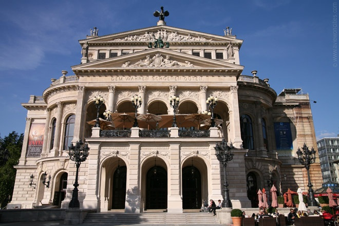 "Alte Oper (""old opera house"" - rebuilt to resemble original) in Frankfurt, Germany. Attended a concert there!"