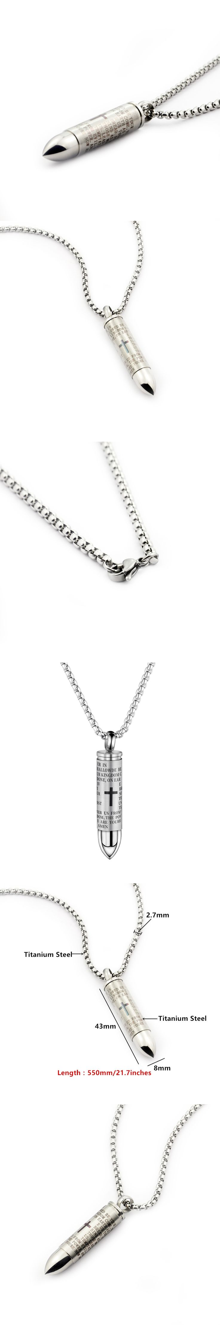 GORGEOUS TALE Hollow Bullet Pendant Necklace for Man Can be Unscrewed Cross Pendant Men Jewelry Spanish Bible Male Necklace 2017