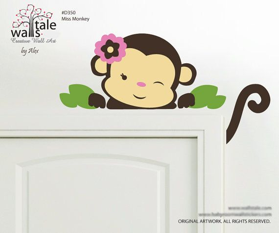 d350 - Miss monkey wall decal for nursery. Also available as boy monkey.     Overall dimension of Miss monkey wall decal is 9,9 high x 23,6 wide |