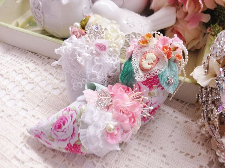 strawberry sachet filled with lavender buds, perfect gift shabby chic decor pink roses vintage lace and damask