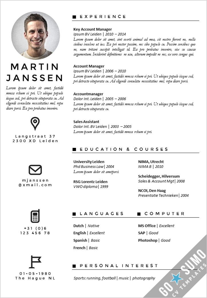 Professional cv design. CV template, fully editable in Word and PowerPoint, matching cover letter templates included. Curriculum vitae, resume. https://gosumo-cvtemplate.com/all-cv-templates/