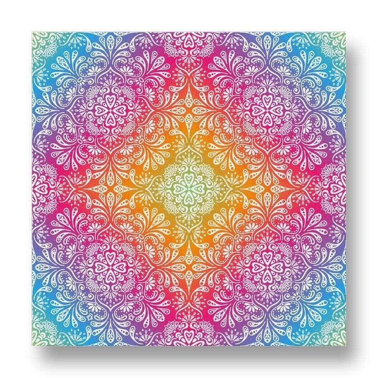 Colourful Pattern Canvas Print.  This free-spirited canvas print is striking for its colourful appearance.  The rainbow-like colours are complimented with a white floral motif that creates a striking visual effect.