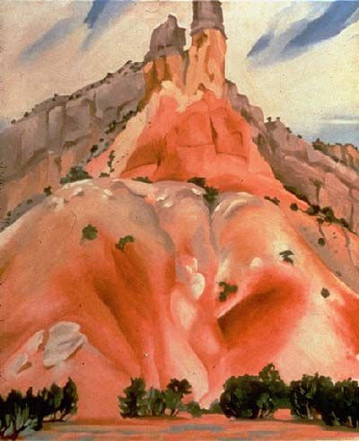 """The Cliff Chimneys"" ~ Georgia O'Keeffe 1938. Ghost Ranch, NM. One of Dennis' favorite places to stop and try to capture the magic with his camera."