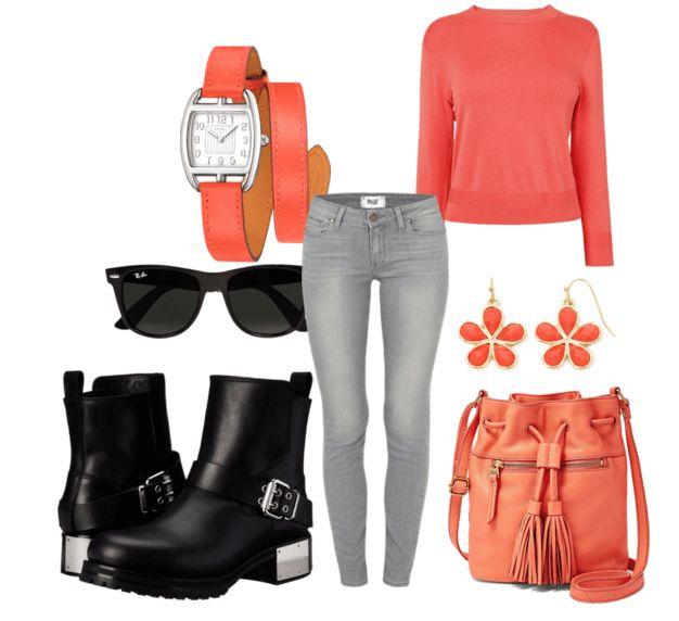 Чёрные ботильоны, серые джинсы, свитер, рюкзак, очки, серьги, часы