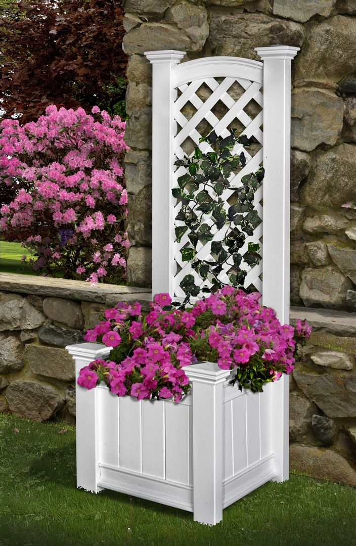 Trellis with Planter box!!  New England Arbors Kensington Rectangular Box Planter Trellis