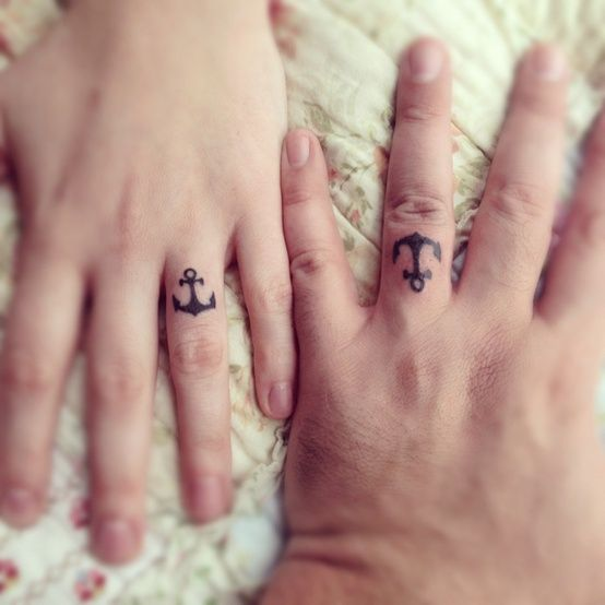 28 Awesome Wedding Band Tattoos I Dont Like Anchors But The Ideas Are Cool