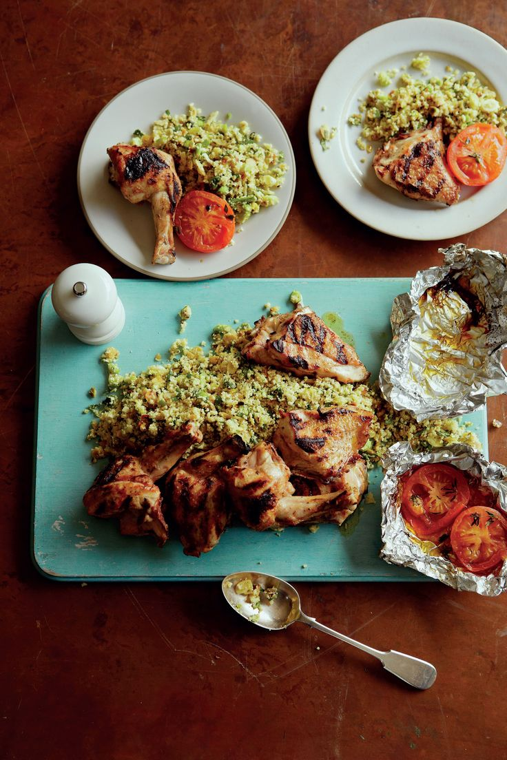 Cauliflower 'couscous' with barbecued chicken and honeyed tomatoes recipe from Home Comforts by James Martin   Cooked