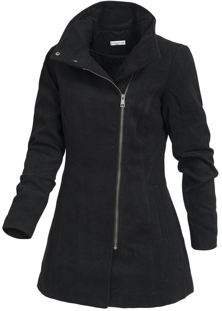 JDY by Only Damen Wollmantel Stehkragen RV JACKIE BIKER 15089447 SALE schwarz kaufen | 77Store