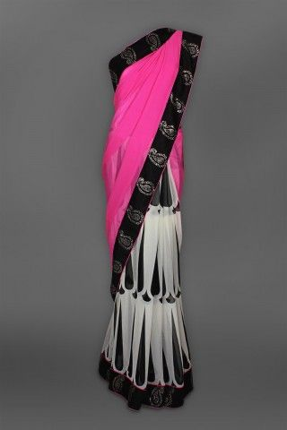 Featuring this beautiful Pink Black Cream Printed Sari in our wide range of Saris. Grab yourself one. Now!