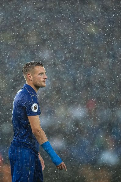 Leicester City's English striker Jamie Vardy in the rain during the English…
