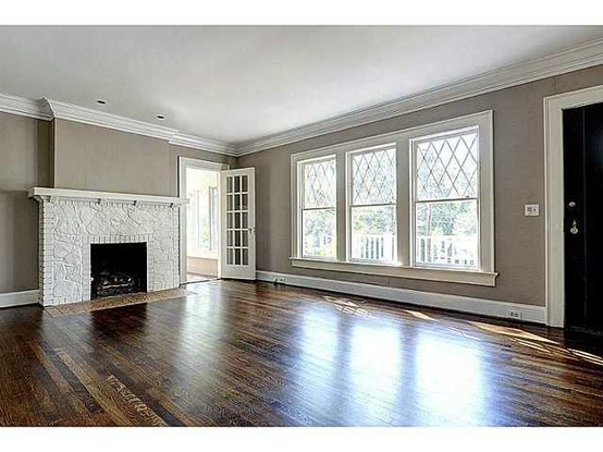 Dark Wood Grey Walls White Trim Condo Decorating