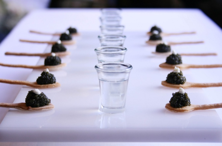 Caviar served with vodka shots canapes pinterest for Edible canape spoons
