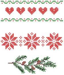 ... christma border, pine branch, cross stitch charts, ant, cross stitches