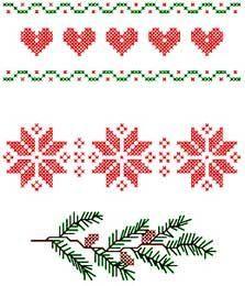 ... christma border, pine branch, cross stitch charts, ant, cross stitches