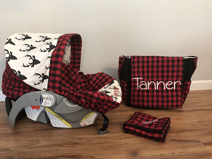 Diaper Bag Car Seat Carrier Cover Made With Red Plaid And Hello Bear Buck Night Deer Fabric Monogram Minky Huggy Blanket For Baby