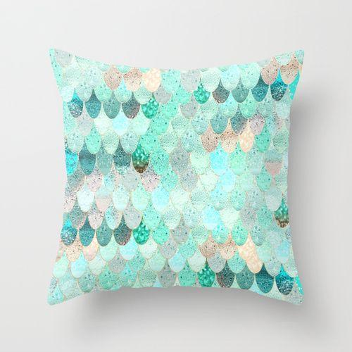 SUMMER MERMAID Throw Pillow 16X16 $20