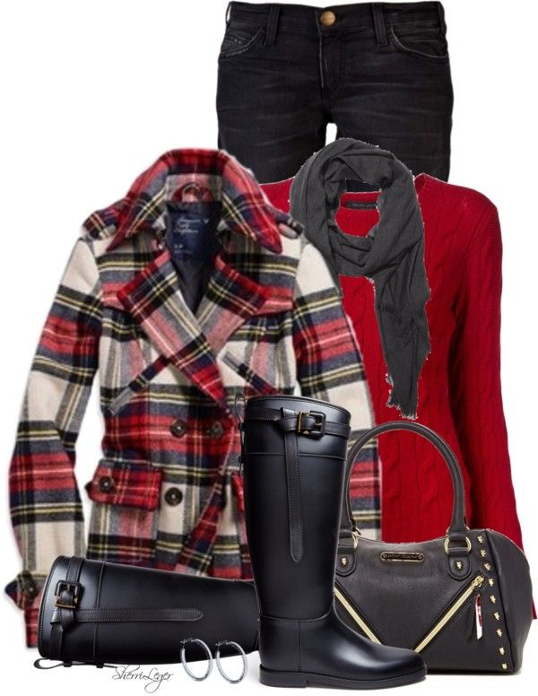 Plaid Ruffle Collar Wool Coat Fall Outfit