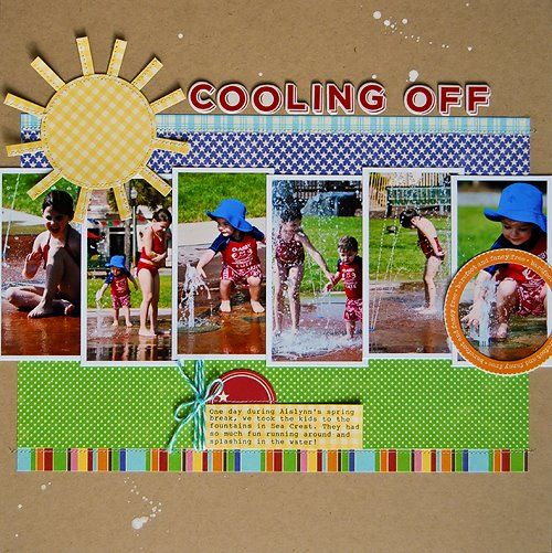 Cooling off, bridgestreet...Love this page!  for multiple photos, colour scheme (blues and green reflect water, sunny yellow, and bright colours for kids), cutouts and stitching