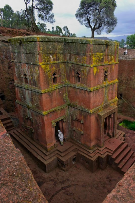 Lalibela, Ethiopia. Ancient Bed Rock Church of St. George located in Lalibela. The church is carved from solid rock in the shape of a cross. It is known as the Eighth Wonder of the World