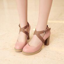 Plus size mulheres lolita sapatos de plataforma da forma das senhoras cruz calçados buckle femal dedo do pé redondo branco rosa lavender de salto alto 8029(China (Mainland))