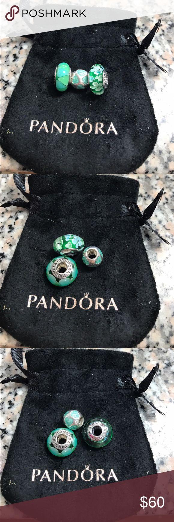 3 Pandora glass bead All Sterling Silver stamped 925. No trade Pandora Jewelry Bracelets