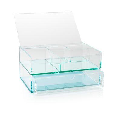 Blue Acrylic Storage Box With Drawers