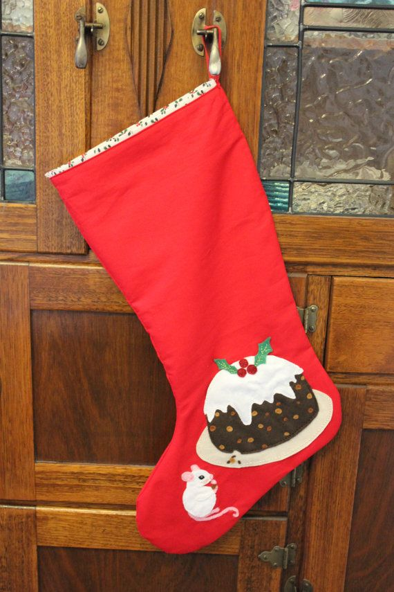 Plum Pudding Stocking by PuddleducklaneAgain on Etsy