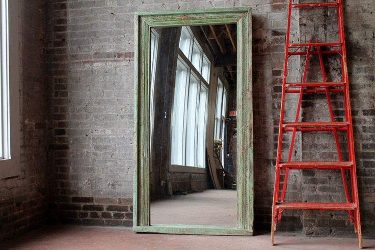 Floor Mirror Antique Indian Architectural Elements Fern Green Boho Global Indian Full Length Mirror Moroccan Mirror Mediterranean