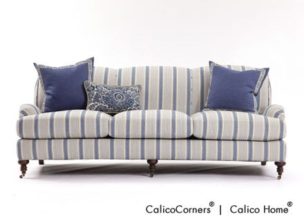 Russell Sofa In Bronte Stripe/Seaside Blues Exclusively At Calico
