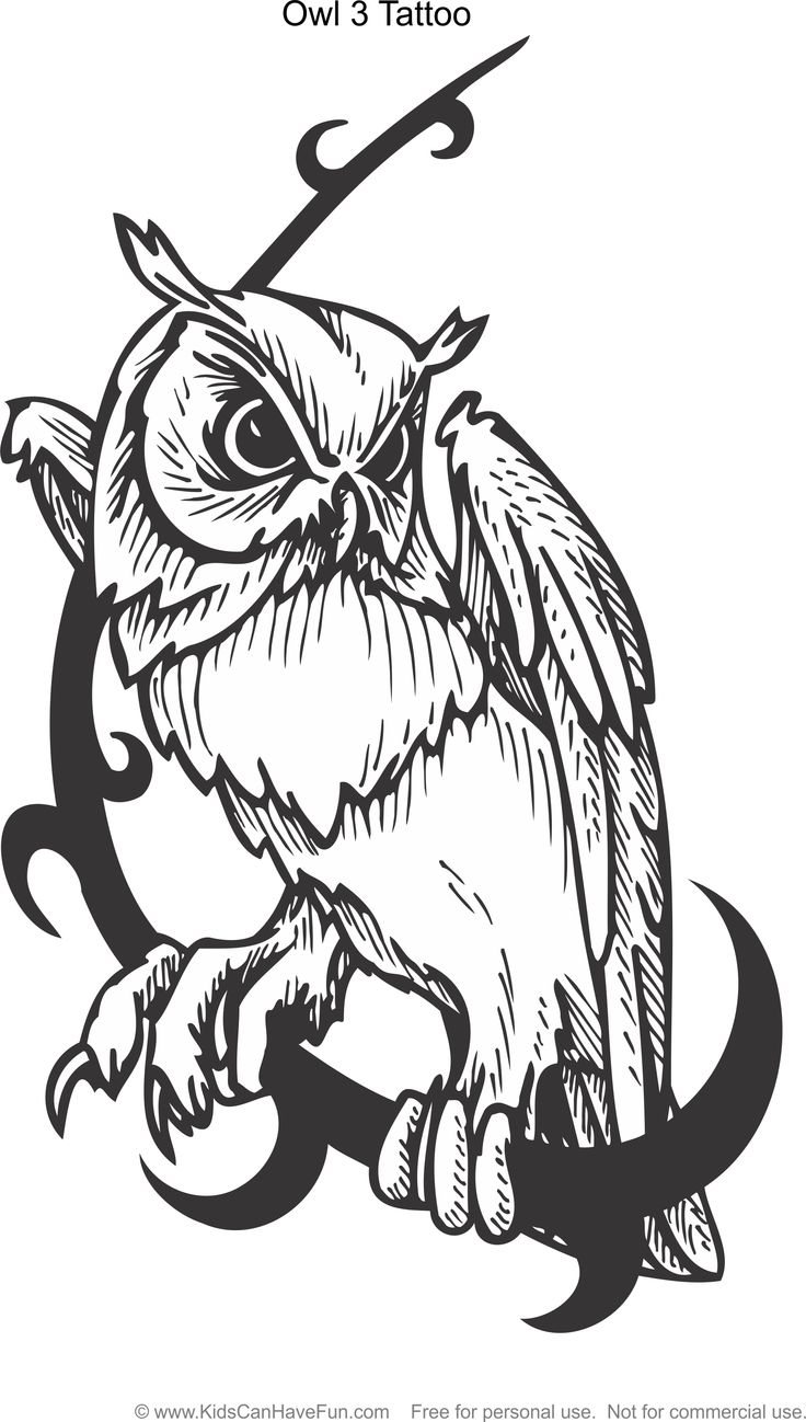 Tattoo designs coloring book - Owl 3 Tattoo Design Coloring Page Http Www Kidscanhavefun Com