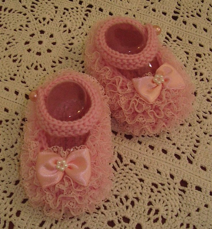 Lace Mary Jane baby shoes in Newborn size. Handknitted by me. Available on website or FB page. Butterfly Babywear Boutique.