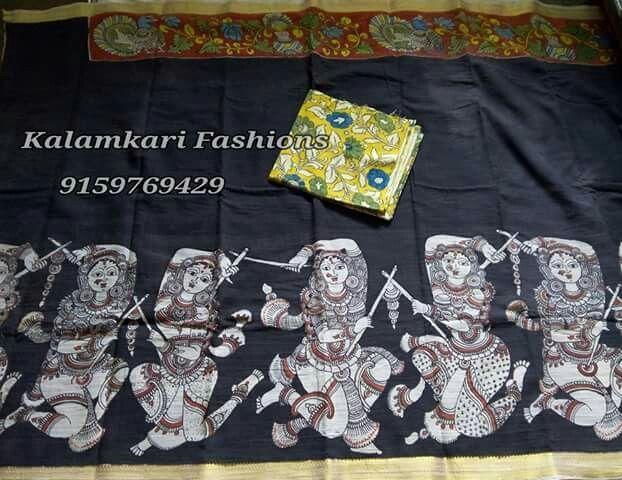 pen Kalamkari  Mangalgiri cotton  saree with blouse
