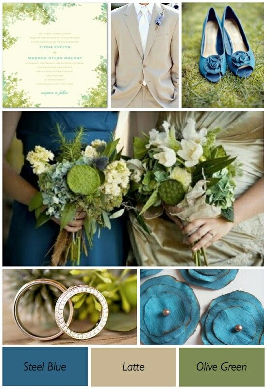 Olive Green Steel Blue Latte Olive Green Weddings