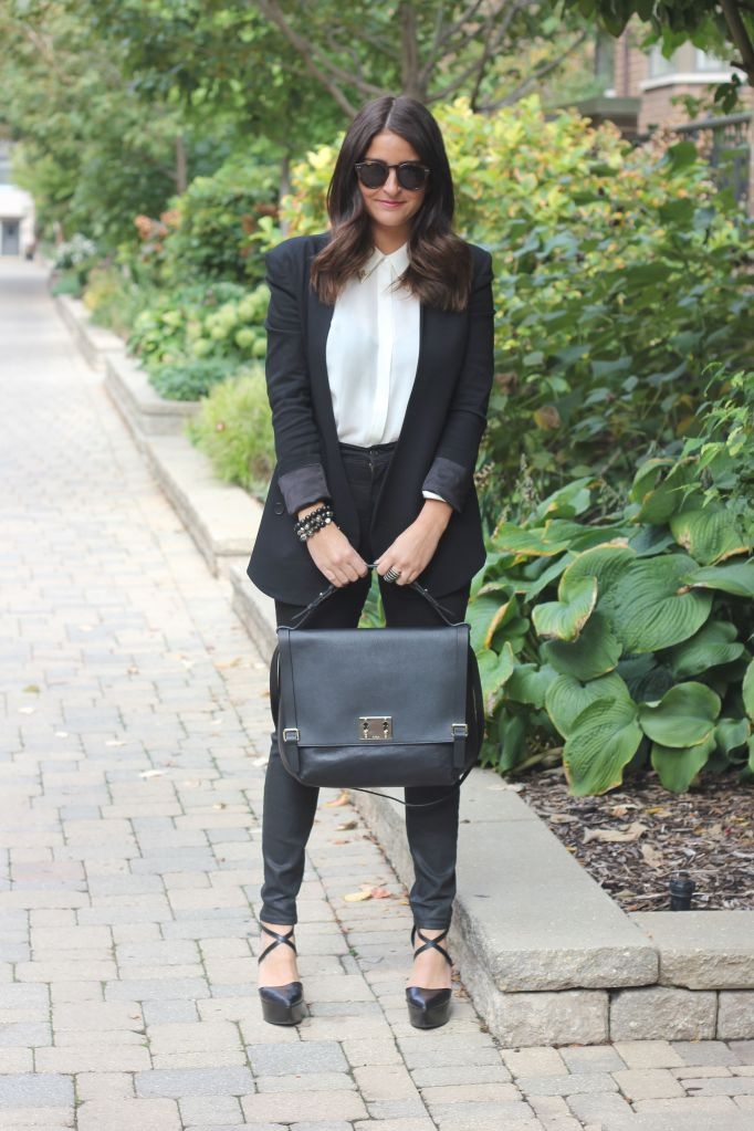 Transition a collared blouse and blazer from day to night with heels and an oversized satchel #fallstyle #tjmaxx
