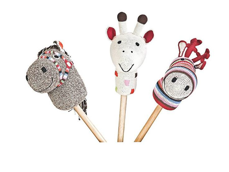 Fabulous stick animal material organic cotton hand crochet wood A fantasic Keesake gift with endless fun 100% hand crochet heads three choice of head ,Charming styles and beaufifully made colourful toys Horse and Giraffe reindeercolours )choco 070 (horse nature 025 (giraffe) , wood multi 100 (reindeer) size height appr 72 cm