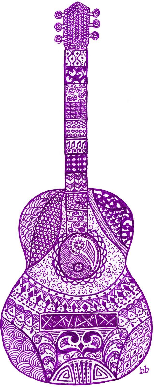 No Apologies for Doodling. Acoustic Guitar Zen Doodle Art.