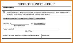 Security deposit receipt, deposit receipt template