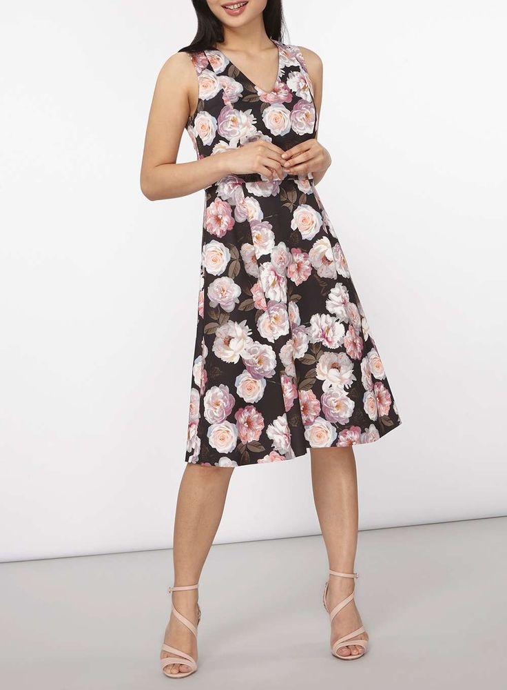Womens Petite Floral Prom Dress- Pink