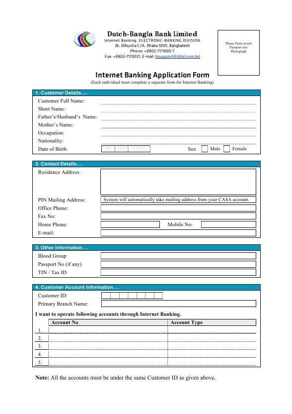 Internet Banking Application Form - Dutch-Bangla Bank Limited ...