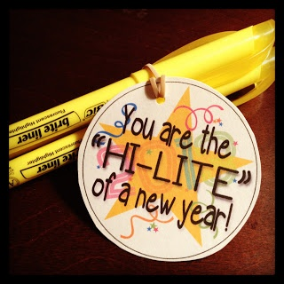 You are the HI-LITE of the new year!  Include a couple pencils and pens to replenish their stash