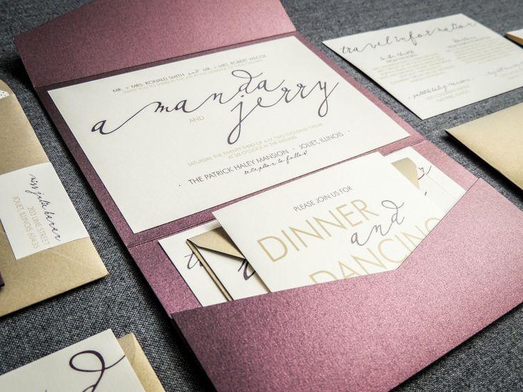 Purple And Gold Wedding Invitations: Modern Calligraphy Wedding Invitations, Purple Wedding