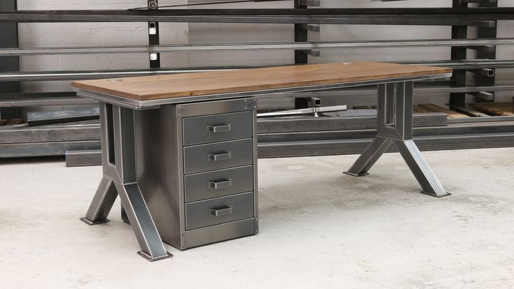 The Engineering desk by Steel Vintage. Handmade bespoke industrial design for domestic and commercial use. Custom sizes available. Steel & Oak